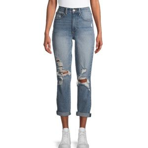 High Rise Destructed Girlfriend or Mom Jeans 11